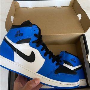 Men's Air Jordan 1 Retro High Black/Blue Size 7